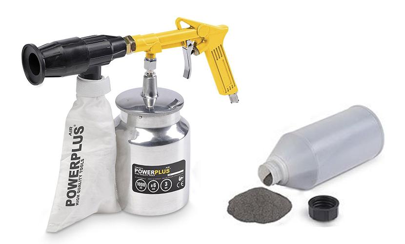 Powerplus Sandstrahlgerät mit Rückgewinnung und Nachfüllpulver